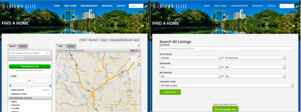 Home Search Page - laptop vs iPad